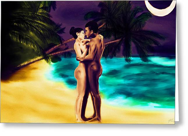 Lovers Under The Stars Greeting Card by Kenal Louis