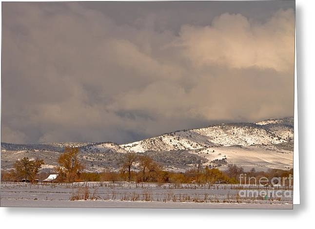 Low Winter Storm Clouds Colorado Rocky Mountain Foothills 2 Greeting Card by James BO  Insogna
