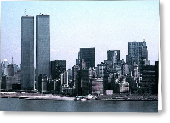 Lower Manhattan Island With Twin Towers Greeting Card