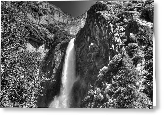 Lower Yosemite Falls Bw Greeting Card by Bruce Friedman