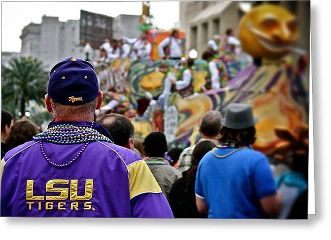 Greeting Card featuring the photograph Lsu Mardi Gras  by Jim Albritton