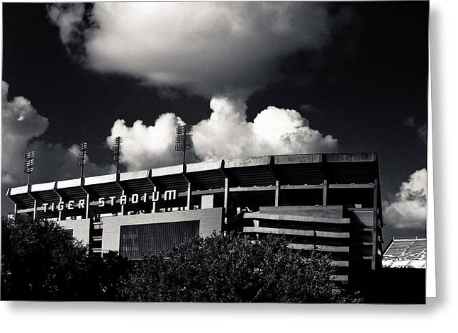Lsu Tiger Stadium Black And White Greeting Card by Maggy Marsh
