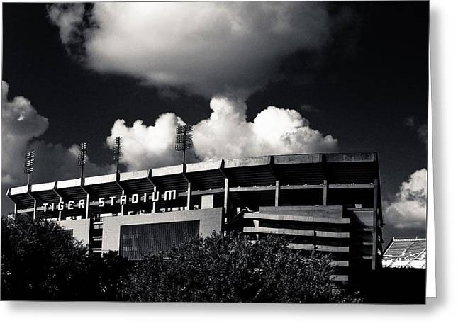 Lsu Tiger Stadium Black And White Greeting Card