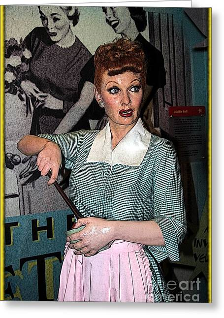 Lucille Ball Cartoon Greeting Card by Sophie Vigneault