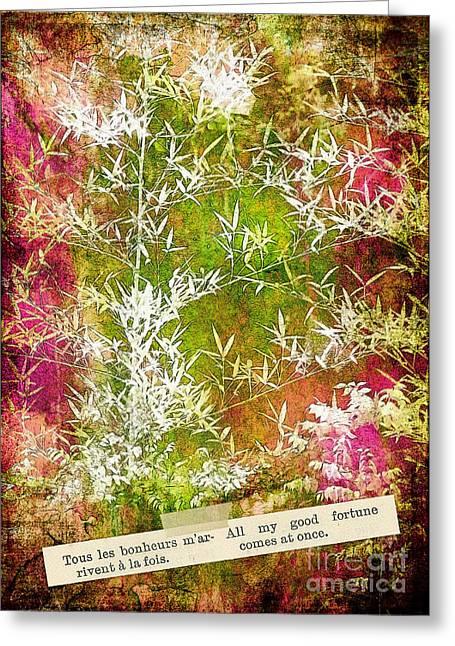 Lucky Bamboo Greeting Card by Judi Bagwell