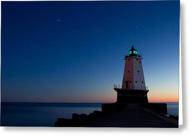 Ludington Michigan Lighthouse At Dusk Greeting Card by Twenty Two North Photography