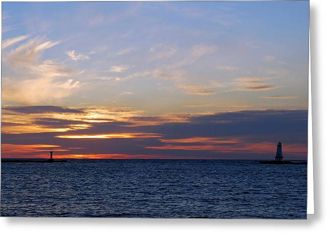 Ludington Sunset Greeting Card by Twenty Two North Photography