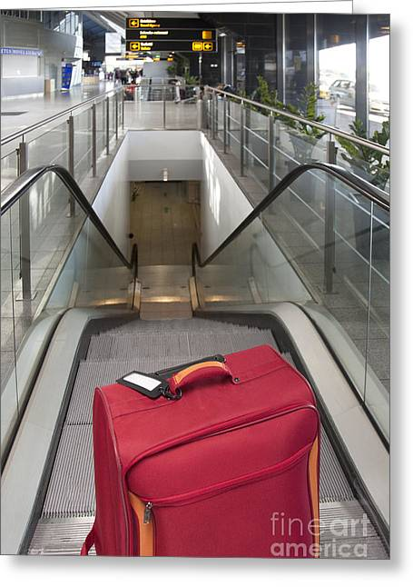 Luggage At The Top Of An Escalator Greeting Card