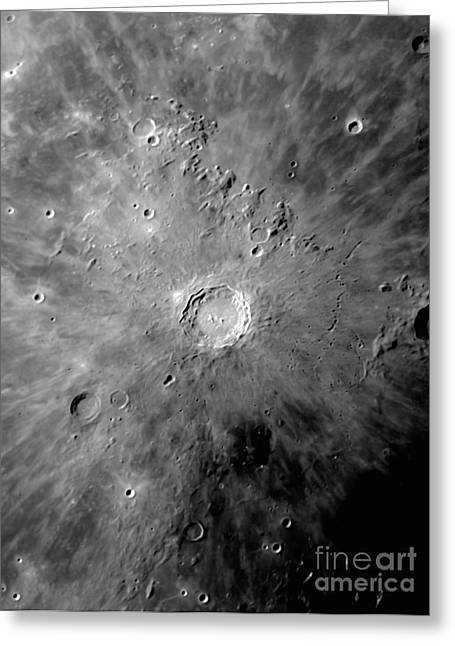Lunar Crater Copernicus Surrounded Greeting Card by Phillip Jones