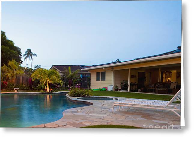 Luxury Backyard Pool And Lanai Greeting Card by Inti St. Clair