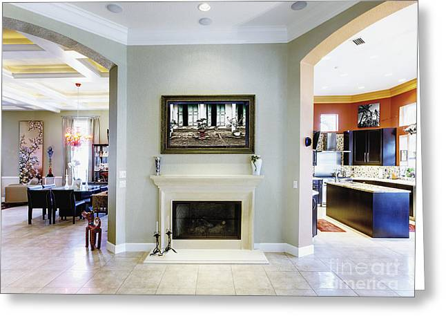 Luxury Home Fireplace And Hallway Greeting Card by Skip Nall