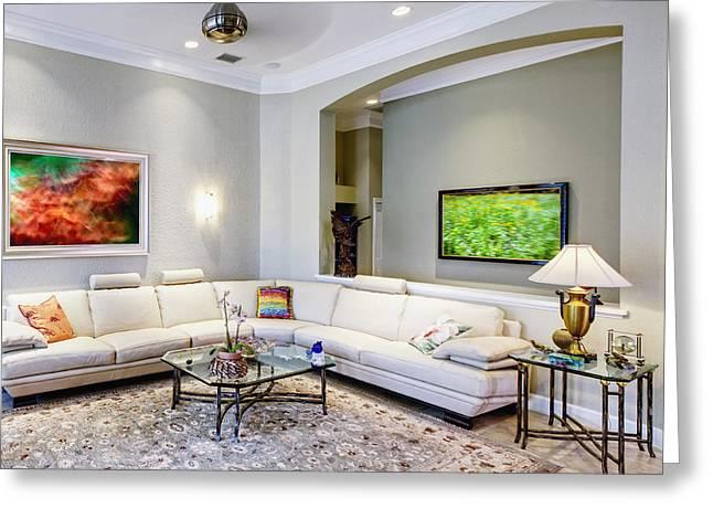 Luxury Living Room Interior Greeting Card by Skip Nall