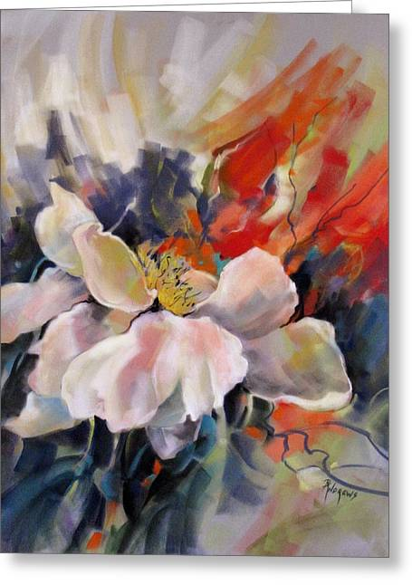 Greeting Card featuring the painting Lynda's Rose by Rae Andrews