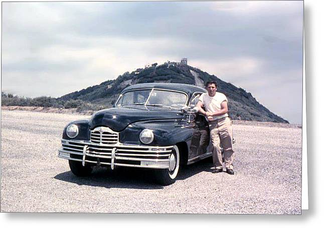 Lynn And His Packard Greeting Card