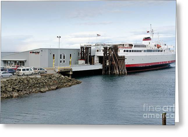 M V Coho Docked Ferry At Port Angeles Greeting Card by Andy Smy