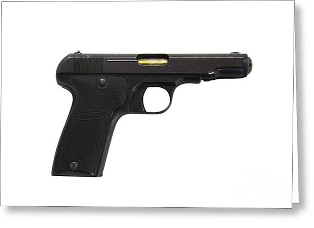 Mab Model D French Police Issue Pistol Greeting Card by Andrew Chittock