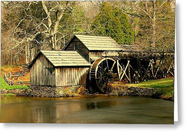 Greeting Card featuring the photograph Mabry Mill In Winter by Myrna Bradshaw