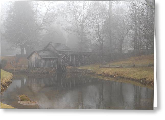 Greeting Card featuring the photograph Mabry Mill On A Foggy Day by Diannah Lynch