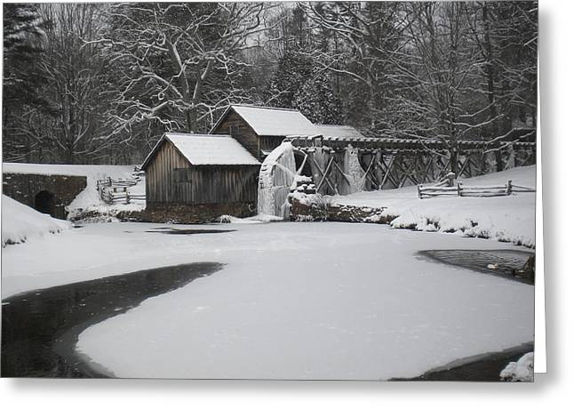 Mabry Mill On Ice Greeting Card