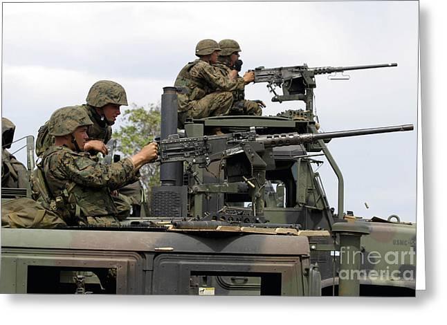 Machine Gunners Fire Machine Guns Greeting Card