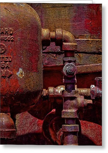Machinery Grunge Greeting Card by Nancie Rowan