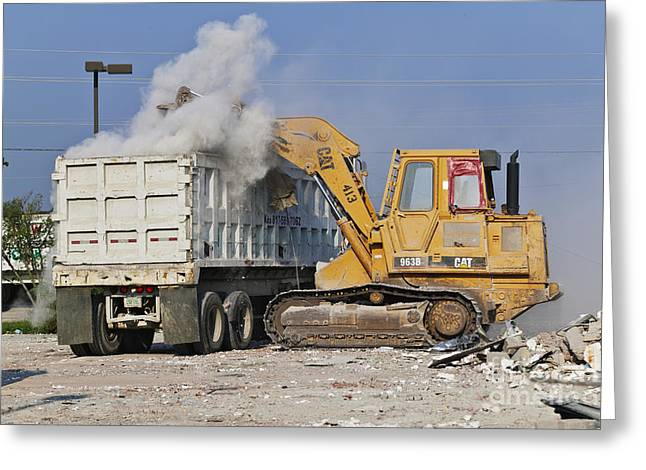 Machines Clearing Debris Greeting Card by Jeremy Woodhouse
