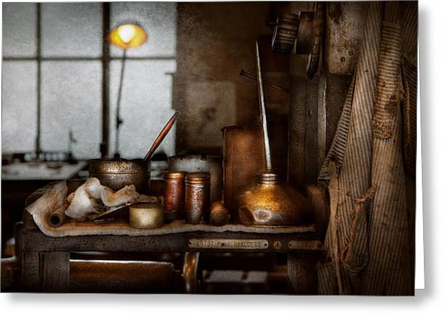 Machinist - Tool - Got Oil  Greeting Card by Mike Savad