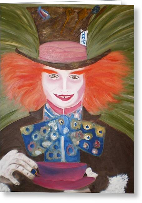 Mad Hatter  Greeting Card by Shannon Schow