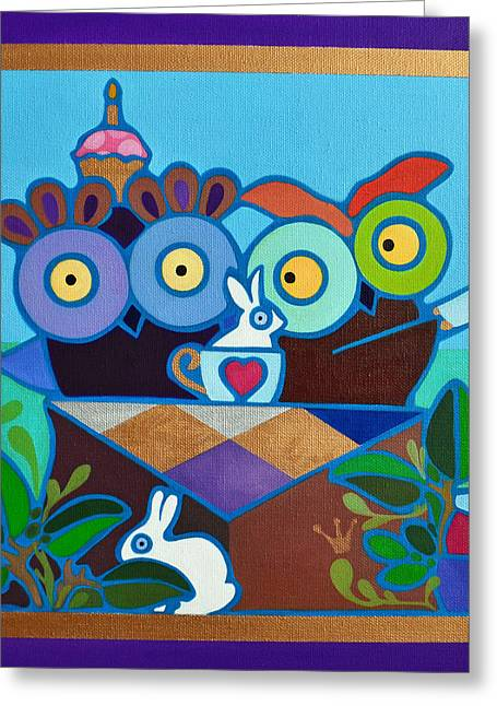 Mad Owl Tea Greeting Card by Jenny Valdez