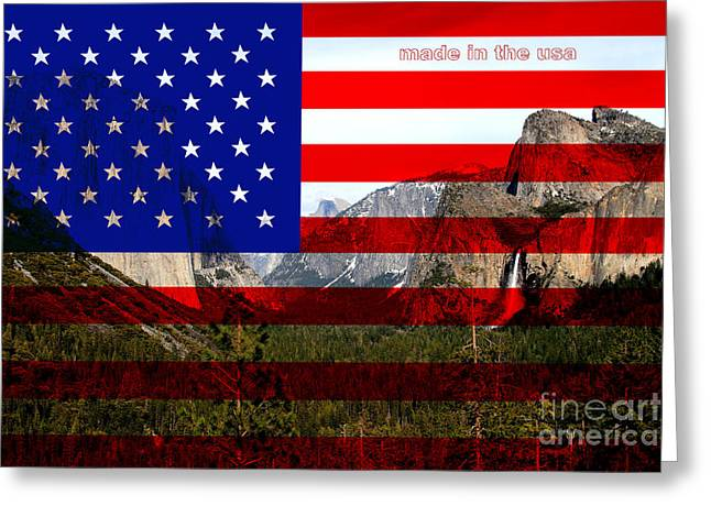 Made In The Usa . Yosemite Greeting Card by Wingsdomain Art and Photography