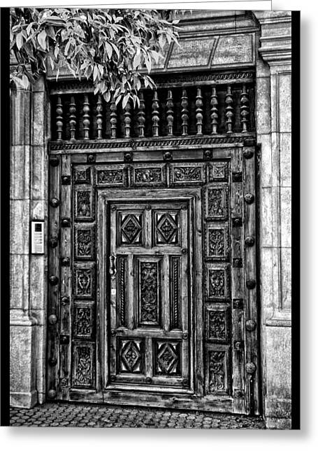 Greeting Card featuring the photograph Maderia Door In Black by Rick Bragan