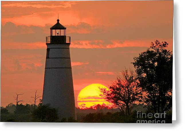 Madisonville Lighthouse Sunset Greeting Card