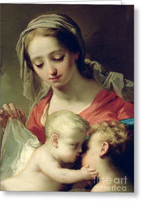 Madonna And Child Greeting Card by Gaetano Gandolfi