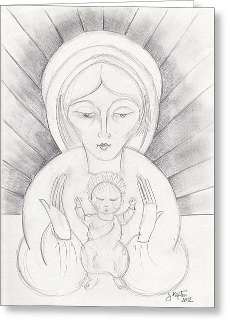 Madonna And Child Greeting Card by John Keaton