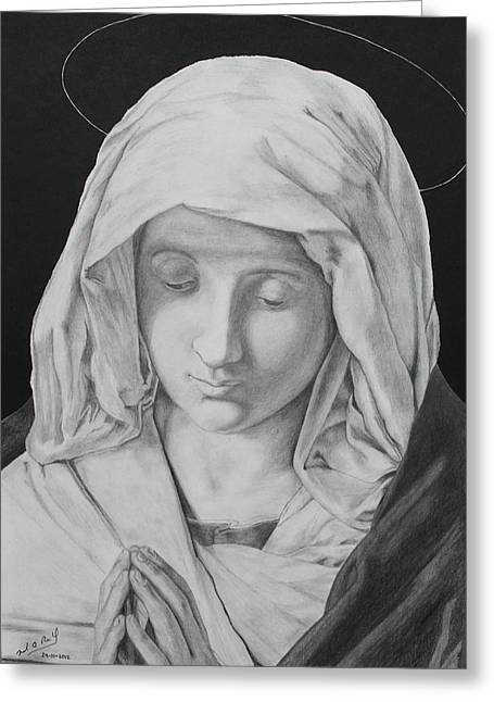 Madonna At Prayer Greeting Card by Miguel Rodriguez