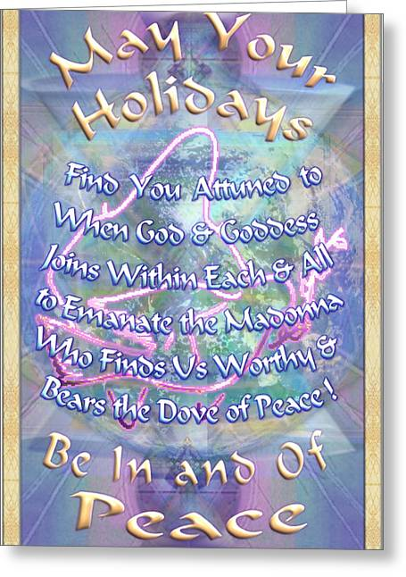 Madonna Dove And Chalice Vortex Over The World Holiday Art I With Text Greeting Card