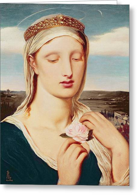 Madonna Greeting Card by Simeon Solomon