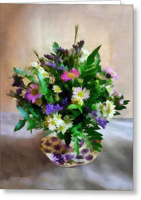 Magenta And White Mum Bouquet Greeting Card by Susan Savad