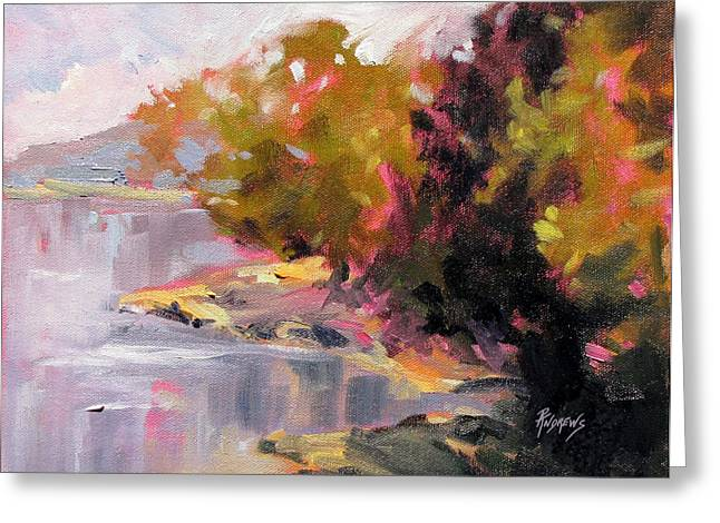Greeting Card featuring the painting Magenta Light by Rae Andrews