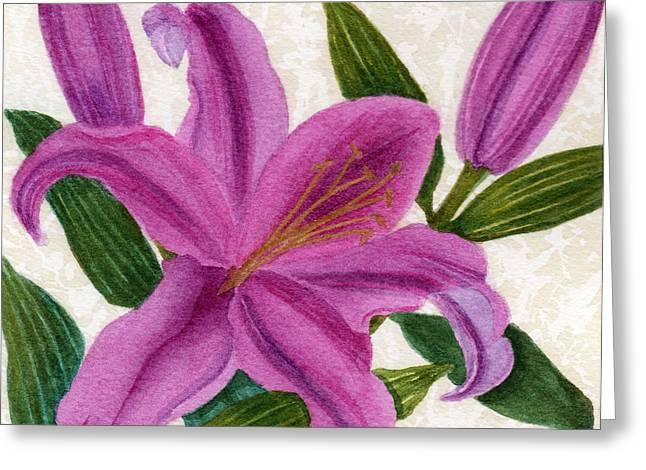 Magenta Lily Greeting Card by Vikki Wicks