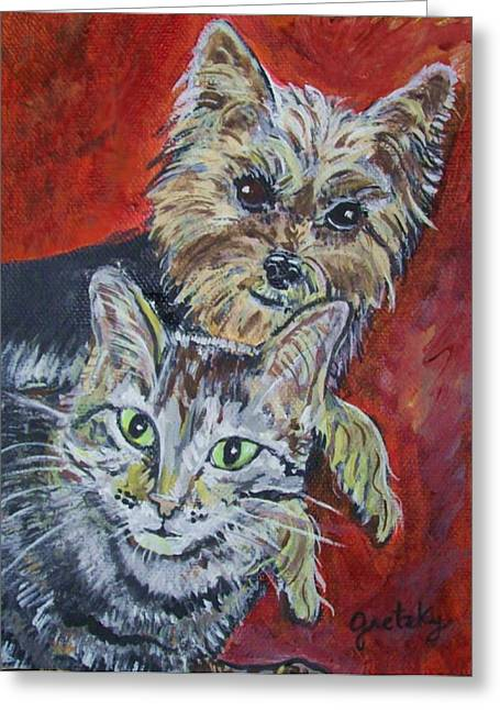 Maggie Mae And Buddy Greeting Card by Paintings by Gretzky