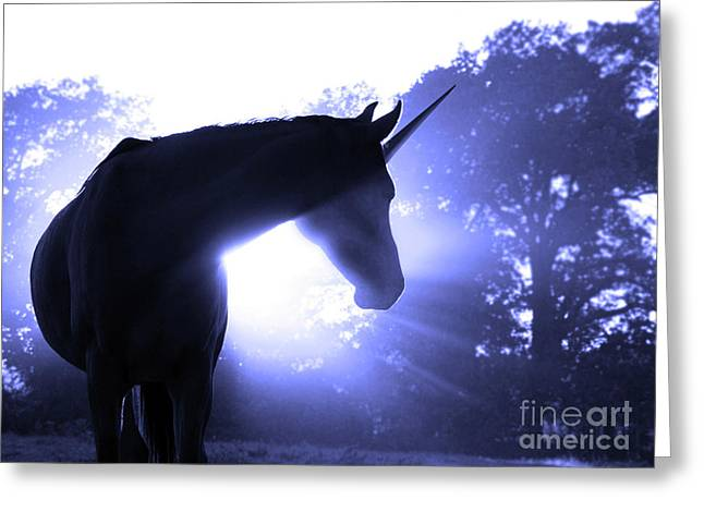 Best Sellers -  - Incarnation Greeting Cards - Magic Unicorn in Blue Greeting Card by Sari ONeal