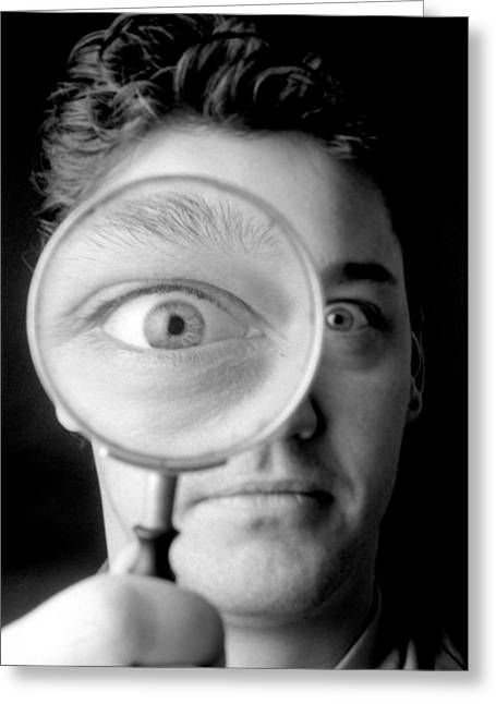 Magnified Eye Greeting Card by Victor De Schwanberg