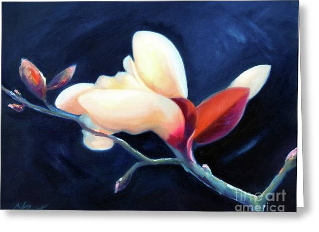 Greeting Card featuring the painting Magnolia Blossom by Michael Rock