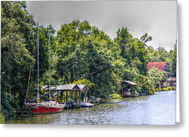 Magnolia River With A Red Sailboat Greeting Card