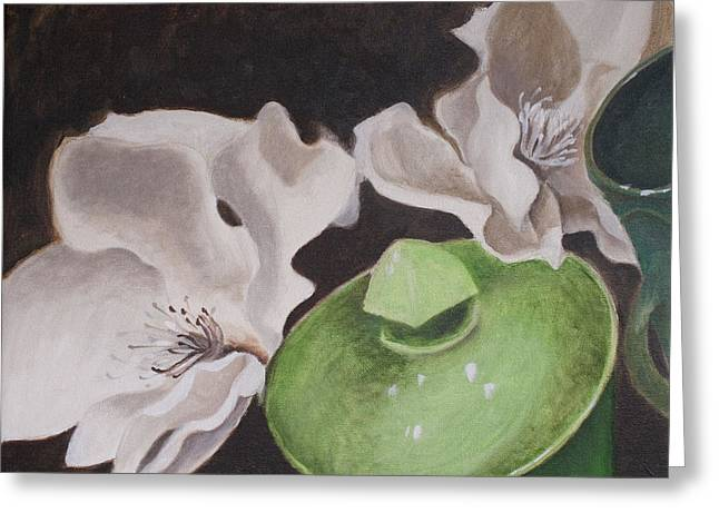 Magnolias With Green Sugar Bowl Greeting Card