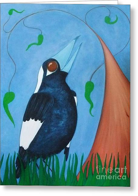 Magpie Song Greeting Card by Leonie Higgins Noone
