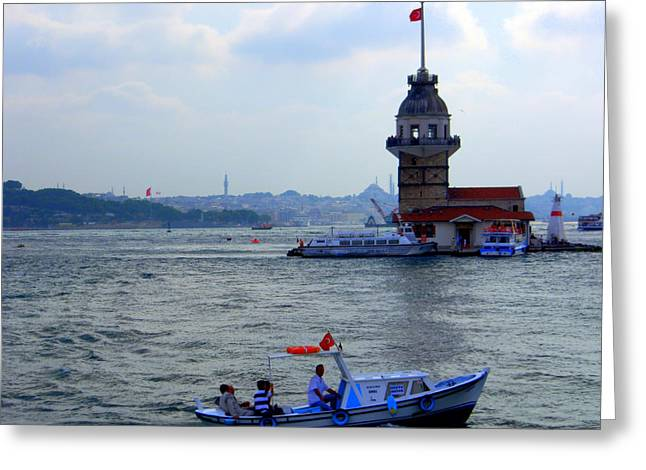 Greeting Card featuring the photograph Maidens Tower Istanbul by Lou Ann Bagnall