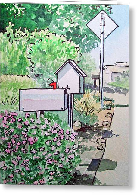 Mail Boxes Sketchbook Project Down My Street Greeting Card by Irina Sztukowski