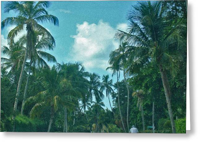 Mail Delivery In Paradise Greeting Card by Peggy Starks